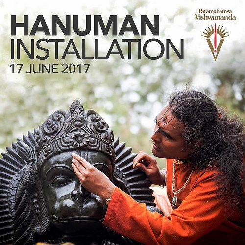 On June 17, 2017, Paramahamsa Sri Swami Vishwananda conducted the official installation of a new deity at Shree Peetha Nilaya - the installation of a new Hanuman murti. A full Kalash puja, including a yagna and abhishekam, were offered to the huge Hanuman. Paramahamsa Vishwananda also performed the Prana Pratishta ceremony, infusing the statue with the deity of Hanuman Himself.  paramahamsavishwananda.com bhaktimarga.org