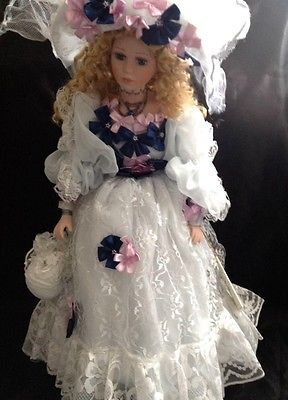 Porcelain Victorian Doll Lucinda Blonde White Lace Bow