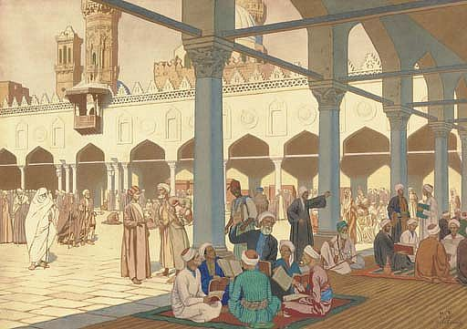Courtyard of Al-Azhar mosque and university complex in Cairo - Ivan Bilibin
