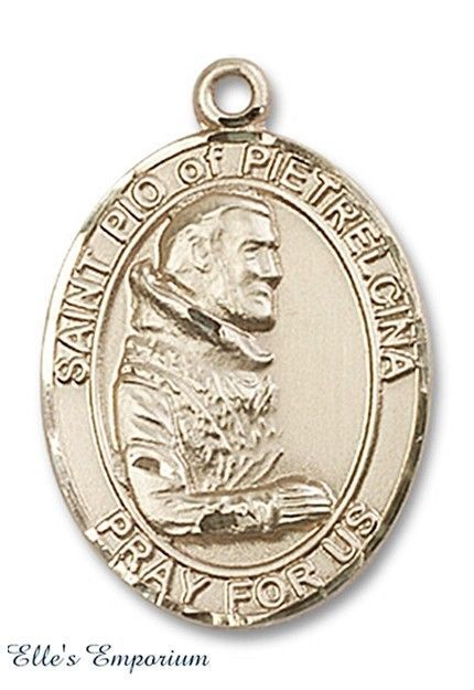 "Handcrafted 14k Yellow Gold ""St. Pio of Pietrelcina, Stigmatist & Mystic"" Medal #BlissMfg #Medal"