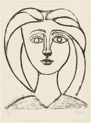 Pablo Picasso • Jeune fille aux grands cheveux, 1945 / Lithograph