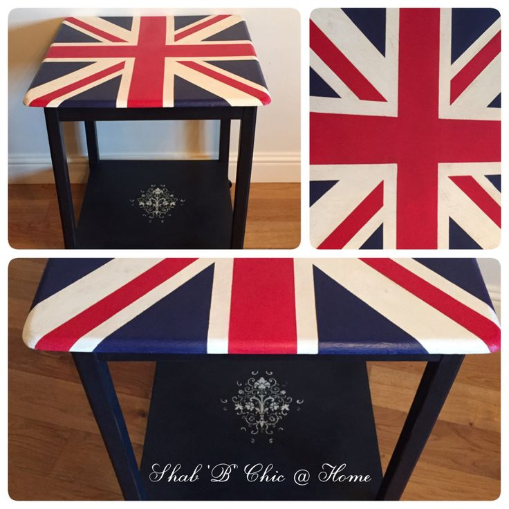 Union Jack table painted with Annie Sloan chalk paint finished with clear and dark wax to give an aged look