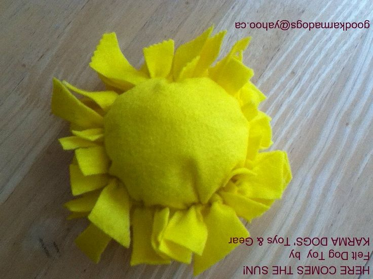 'Karma Dog Fleece Toys'~Hand Made with Love in the Weave, are dog tested to be super durable, machine washable & are made by two young Karma Girls & their Yogini/Dog Walking Mom. Started to help raise funds for a dog in need,  donate a portion of all sales to help rescue dogs & love working with FMHR in their efforts to help save One Dog at a Time! Wishing you always, Peace, Love and Good Karma!    Karma Sun: One Size ~ $5  *Orders, goodkarmadogs@yahoo.ca