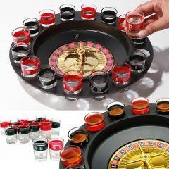 Rulet Shot Oyun Seti. 30 cm çapındaki bu rulet shot'da 6 kişiye kadar oyunu genişletebilirsiniz. Kırmızı ve siyah renkli 16 shot bardağının da yeraldığı sette 2 adet metal rulet topu bulunuyor.