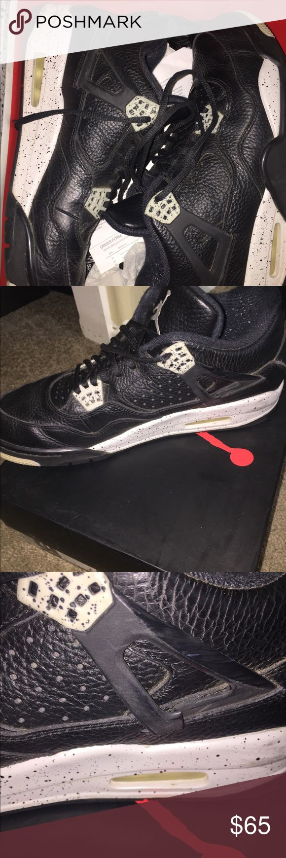 Air Jordan Oreo 4's Flaws include minor scuffs, slight tearing on one of the side details, and they're kinda dusty from not really wearing them for a while. Comes with original box. Jordan Shoes Sneakers