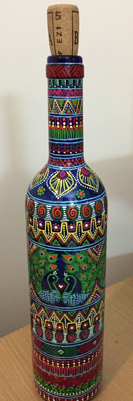 Peacock bottle art with acrylic colors