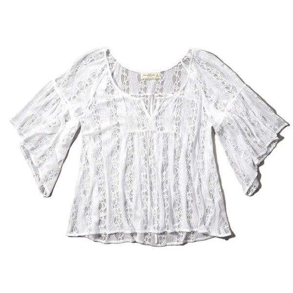 Abercrombie & Fitch Lace Bell Sleeve Peasant Blouse (75 BRL) ❤ liked on Polyvore featuring tops, blouses, shirts, white, white blouse, bell sleeve blouse, lace blouse, v-neck shirt and white lace top