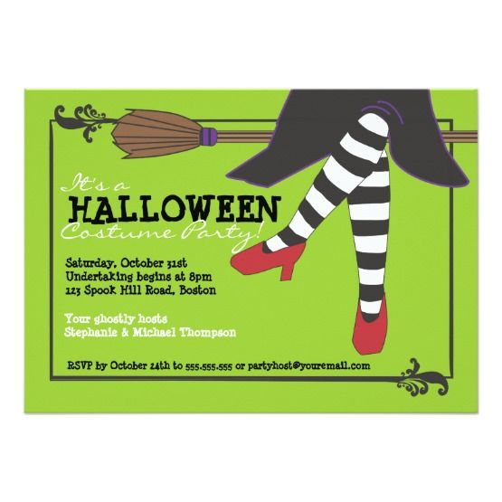20 best halloween party invitation templates images on pinterest fun wicked witch on broom halloween costume party invite stopboris Choice Image