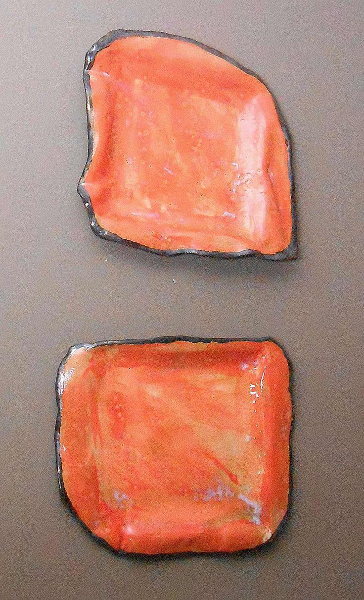 large orange and gold modern ceramic wall sculpture plates | contemporary ceramic sculptures | modern artwork | modern wall art | square wall plates | home decor ideas | interior design | Maggie Minor