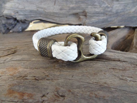 Men's White Leather Bracelet, Leather Jewelry, Antique Brass, Hook Clasp Bracelet, Cuff Bracelet, Gifts for Boyfriend, Father' Day Gifts