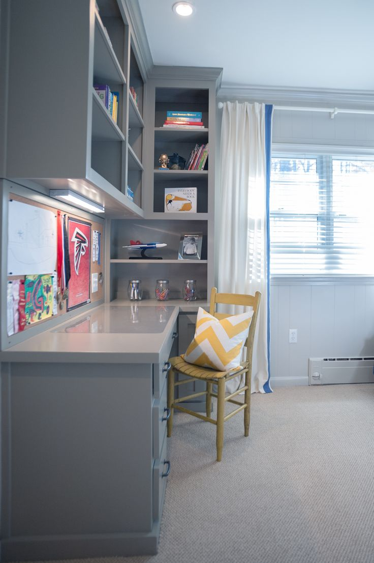 Another view of a desk I've previously pinned.  I really like the idea of a built-in desk with built-in book storage around it.  Perfect for homeschooling!  ;-)