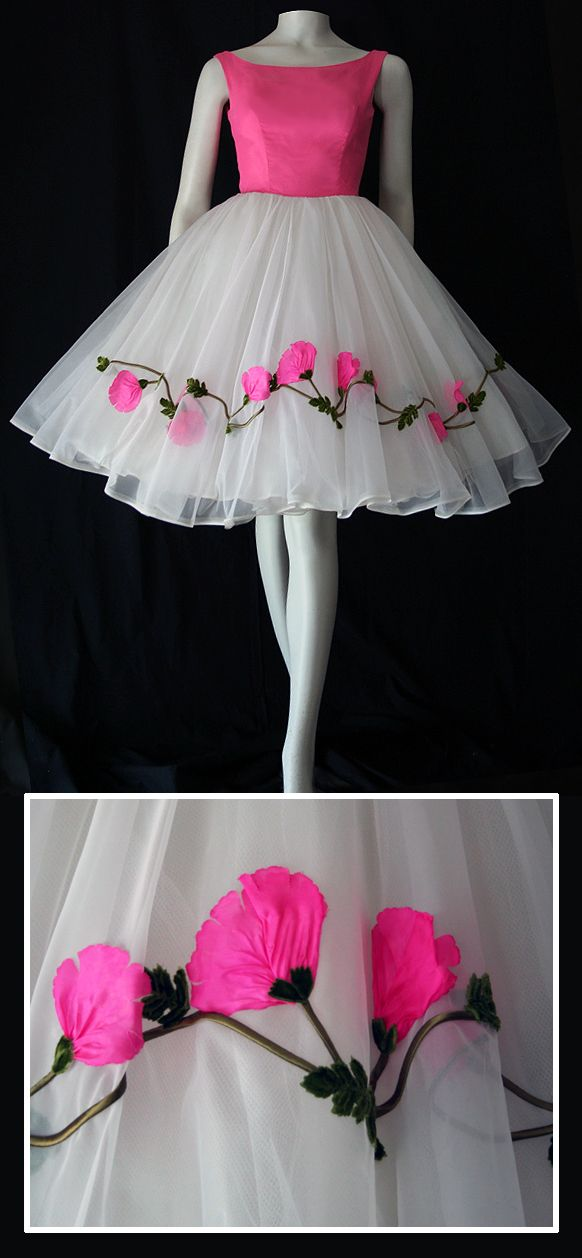 1950s prom dress with floral applique on chiffon skirt