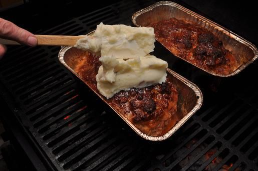 Meatloaf made on the grill and topped with mashed potatoes | Grilled Meatloaf | https://grillinfools.com