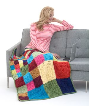 Image of Bright Squares Afghan