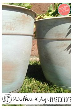 How to age plastic terra cotta flower pots to look like old, worn and aged terra cotta flower pots. Save time and money with this DIY project. via @https://www.pinterest.com/dazzlefrazzled/
