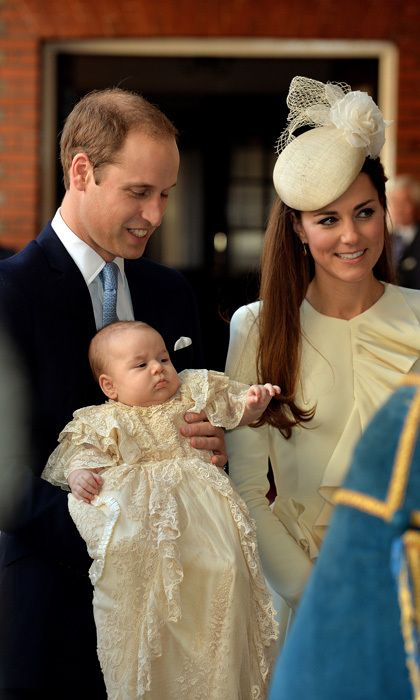 C: CHRISTENING  Like previous royal babies, including Prince George, William and Kate's second child will make his or her official debut several months after birth at the christening. The child will wear the lace gown handmade by the Queen's dresser, Angela Kelly, in 2004. It's a replica of the 1841 outfit that was made for Queen Victoria's first daughter and was used in royal christenings for the next 163 years. Photo: © John Stillwell/Getty Images