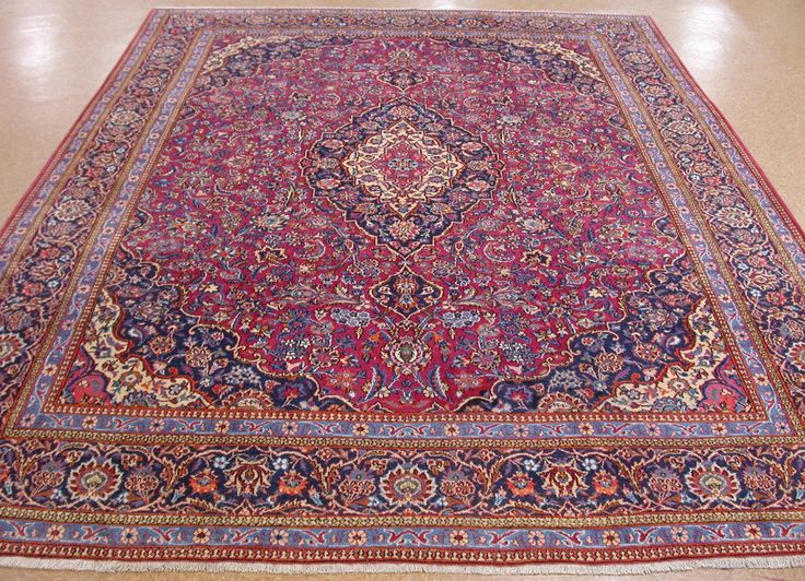 10 X 13 Antique Persian Kashan Hand Knotted Wool Raspberry Red Navy Oriental Rug