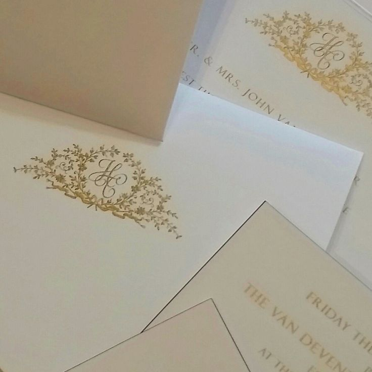 Engraved monogram led wedding invitation suite designed by The Grosvenor Stationery Company