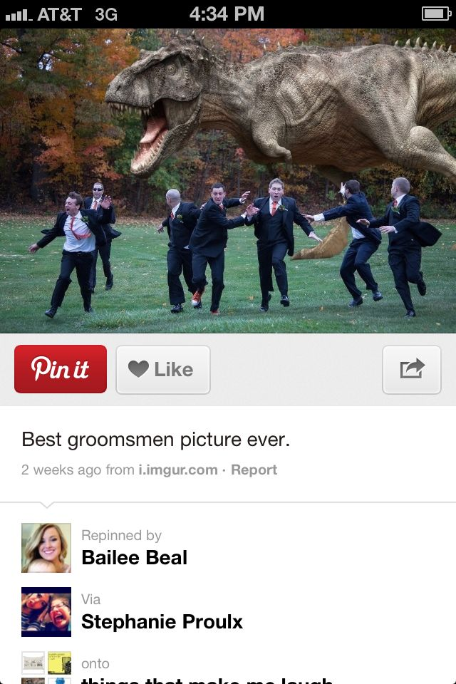 minus the dinasour, maybe we could do one where one of looks like we are trying to run from the wedding?