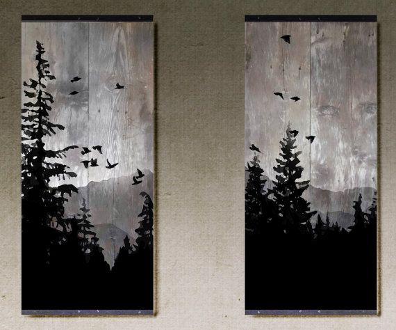 HECHO A PEDIDO ** Se trata de un conjunto de piezas de estilo rústico que retratan una silueta de un lado de la montaña. Hay dos piezas en el conjunto, con la escena que se extiende a través de ambos. Es hecho a mano y pintados en madera recuperada granero del medio oeste. La madera es un gris más ligero en color y tiene un montón de carácter. Sería perfecto a cada lado de una ventana o acento. Cada pieza mide 41 x 18 x 1 y las fronteras de ángulo de hierro en los bordes superior e inferi...
