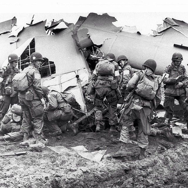 Members of the 101st Airborne Division searching the wreckege of a glider for survivors. The glider crashed behind enemy lines during Operation Market Garden.  #wwii #wwii #germany #german #usa #us #USArmy #USairforce #USnavy #airborne #medelofhonor #glider #american #army #america #army #101st #bandofbrothers #holland #netherlands