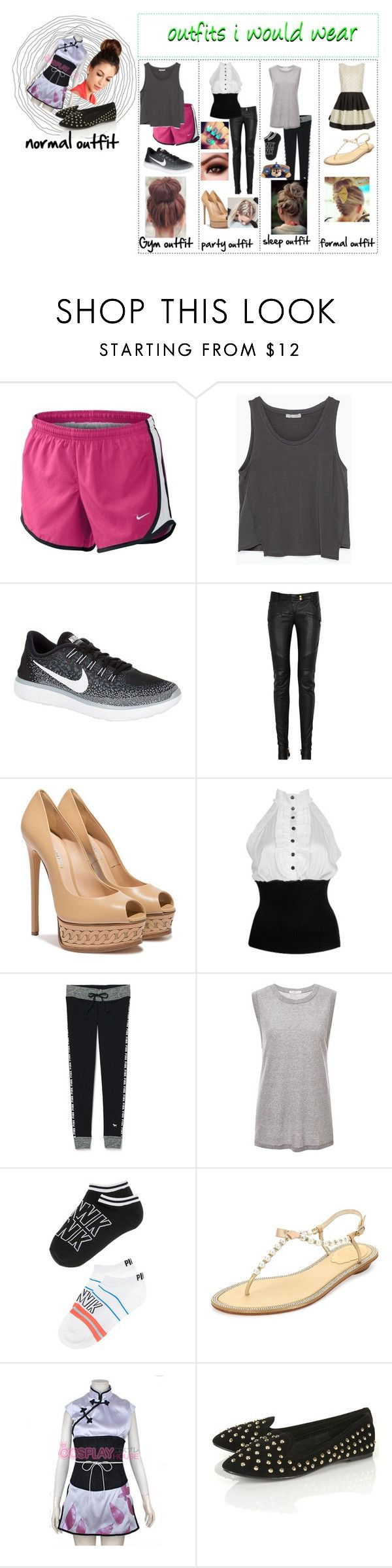 """""""McKaye May"""" by moon-and-back-babe123 ❤ liked on Polyvore featuring NIKE, Zara, Balmain, Casadei, Forever 21, Victoria's Secret, 6397, Nickelodeon, Jones + Jones and René Caovilla"""