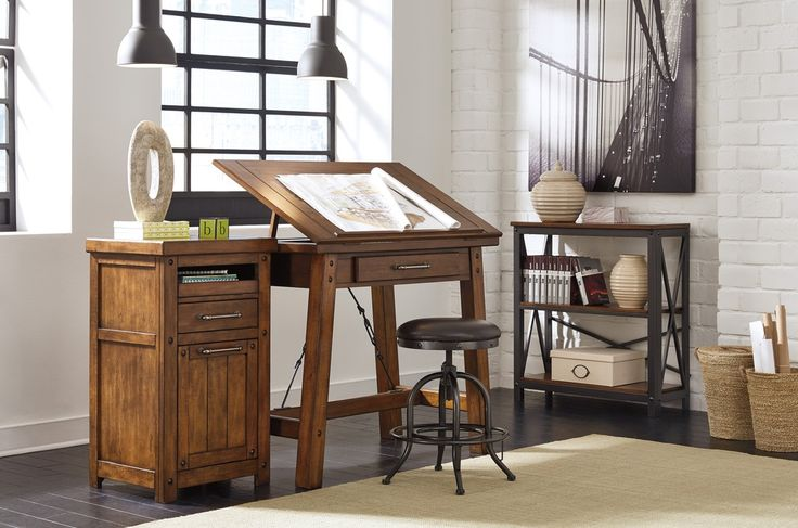 Rustic Home Office with High ceiling, Baltic BLT600 Indoor Area Rug, Shayneville Counter Height Drafting Desk, Pendant light