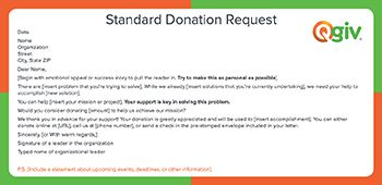 This is a fundraising letter template for a standard donation request.