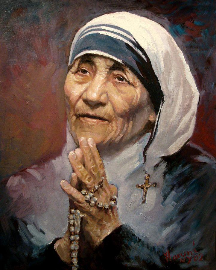 Mather Teresa painting by Ylli Haruni ~ Praying rosary