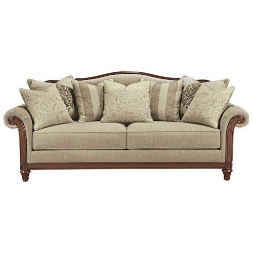 Signature Design by Ashley Berwyn View Transitional Sofa with Camel Back and Showood Trim