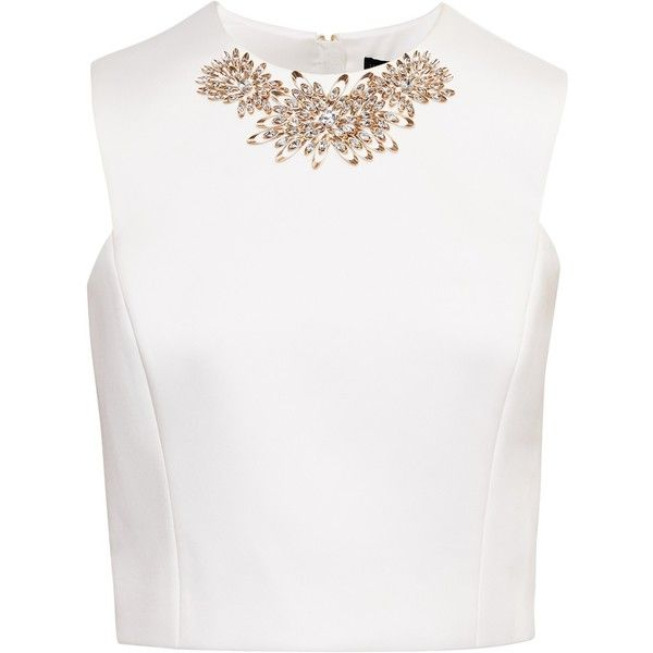 Ted Baker Embellished Cap Sleeve Top (€180) ❤ liked on Polyvore featuring tops, crop tops, shirts, blusas, cap sleeve shirt, crop top, crop shirt, embellished crop top and cap sleeve crop top