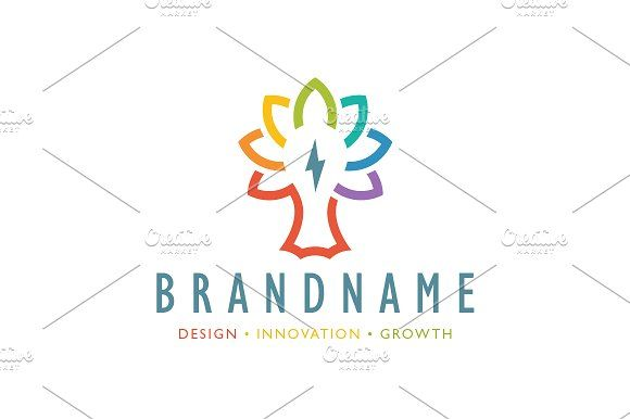 For sale. Only $29 - tree, nature, energy, leaf, clever, idea, innovation, colorful, power, smart, abstract, light bulb, electricity, lightning, bolt, voltage, thunder, spectrum, cooperation, growth, creative, renewable, simple, grow, negative space, logo, design, template,