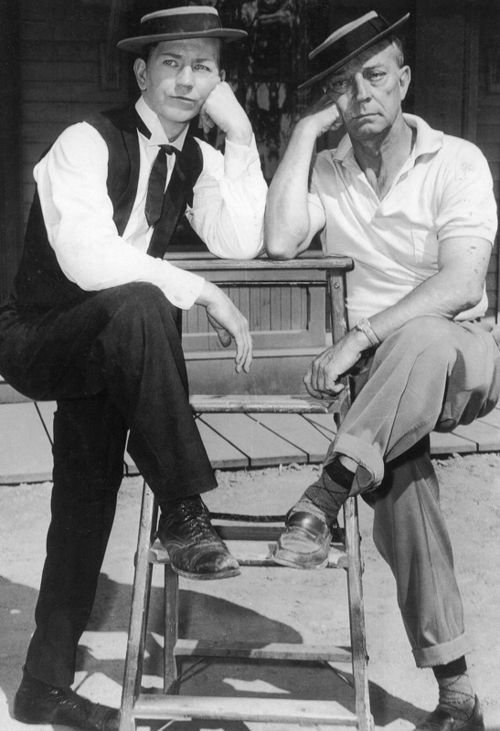 """Donald O'Connor (""""Singing in the Rain"""") & Buster Keaton. I was thrilled when Donald O'Connor agreed to play a major supporting role in a screenplay I wrote. When the big Northridge earthquake leveled his house, he moved to Sedona, AZ and died there. I wasn't his favorite person, but he was my hero. (Esther Luttrell)"""