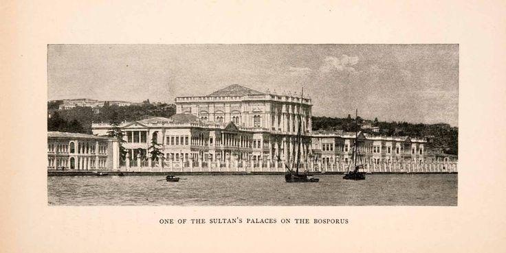 1903 Halftone Print Mediterranean Sultan Palace Bosphorus Bosporus XGTA1