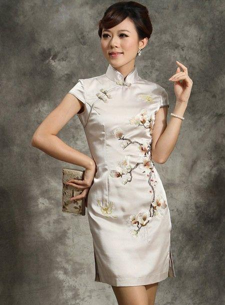Short Mandarin Collar Cheongsam / Qipao / Chinese Dress
