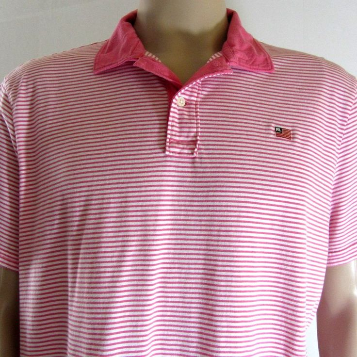 RL Polo Jeans Company Mens Short Sleeves Striped Polo Shirt White Pink XL #PINK #ButtonFront
