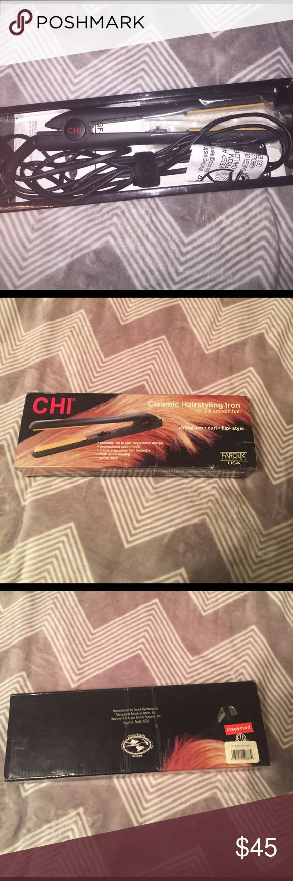 Chi Hair Straightener Chi Hair straightener, got it as a gift a while ago but too lazy to use, too much curly hair :( only used like 5-7 times the most. It is in good condition. (Model GF1001) chi Makeup Brushes & Tools