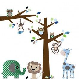 Mooie vrolijke jungle stickers blauw van DecoDeco, met een boom en tak, incl alle dieren, uiltjes, blaadjes, etc.De     boom is 2 meter hoog, en de tak 116 cm breed. Door de sticker naar     eigen inzicht te plakken, kun je zelf de hoogte/breedte van het totaal     bepalen of ze zelfs op 2 verschillende muren plakken. De     stickers zijn geschikt voor harde, gladde ondergronden, zoals ramen,     deuren, tegels en glad gestucte muren. Spachtelputz en kalkverf zijn     niet geschikt voor…