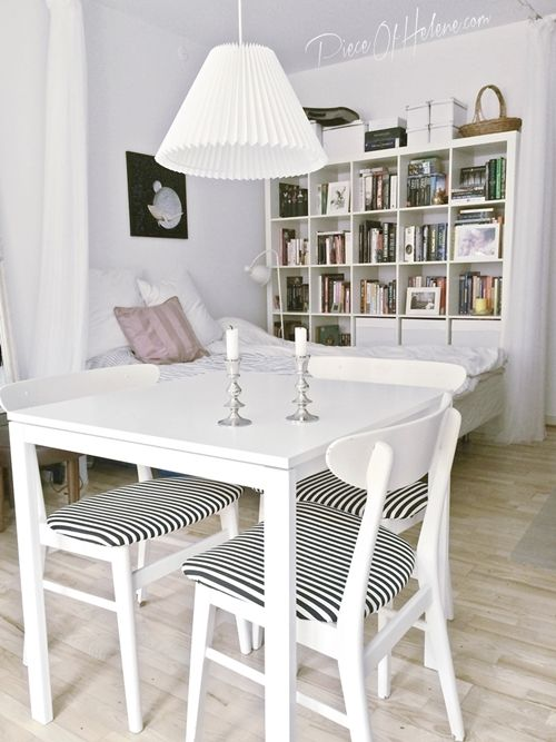 dining area in tiny studio apartment with ikea melltorp table and expedit bookcase hellouhansen. Black Bedroom Furniture Sets. Home Design Ideas