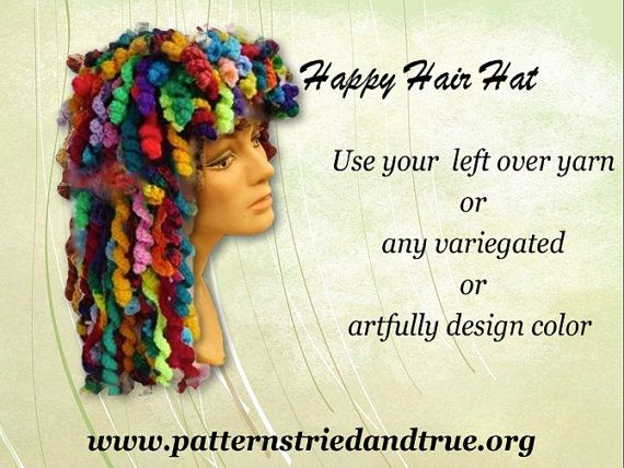 Make happy hair in any color you wish and have so much fun with it:  Crochet this hat as welcomed cover-up hat for cancer patients,  as