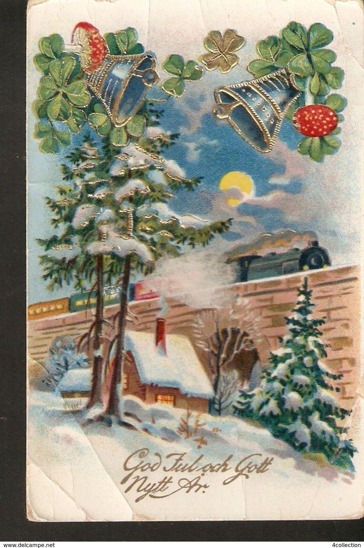 Old Christmas Greetings Postcard posted gilded Winter View Bells Train God Jul Gott Nytt Ar