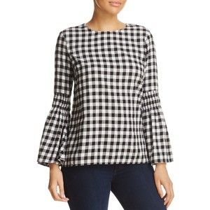 BeachLunchLounge Gingham Bell-Sleeve Top