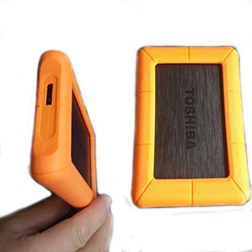 awesome gobuying silicona a prueba de golpes Rugged Case bolsa protectora funda de almacenaje para Toshiba Basics (A1/A2) Canvio Simple (B1) USB 3.0320GB/500GB/disco duro portátil de 1TB Disco duro naranja