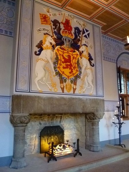 Restored fireplace in the King's Chamber of the Palace, Stirling Castle, Scotland