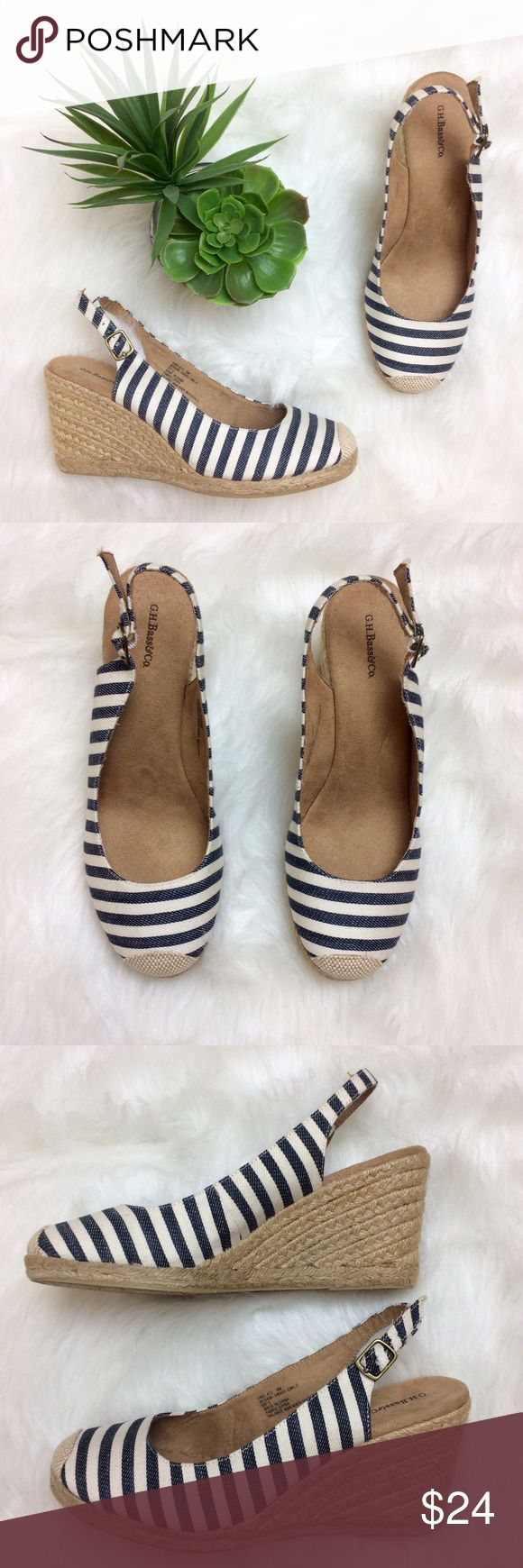 """Bass Navy and White Striped Wedges Beautiful Navy and white striped Wedges from G.H. Bass & Co. Size 9M. Wedge is 3.5"""". Bass Shoes Wedges"""
