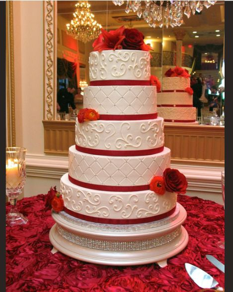 Red Roses Atop Ivory Pearl Diamond Cake Stand By Ashley Cakes Nc