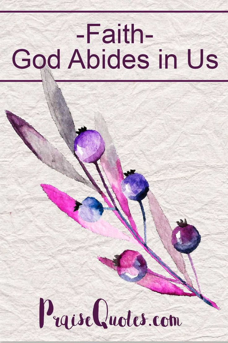 "Faith is the realization that God abides in us. God is both within us, through the Holy Spirit, and beyond us. Faith is not about knowledge or about having all the ""facts"" about God...   http://praisequotes.com/faith-god-abides-in-us/"