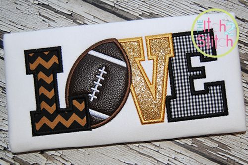Football Love 2 Applique Item Id: #911  Your Price: $4.00 On sale: $3.60  Formats: ART, DST, EXP, HUS, JEF, PES, VIP, VP3, XXX Hoop size (s): 4x4, 5x7 & 6x10