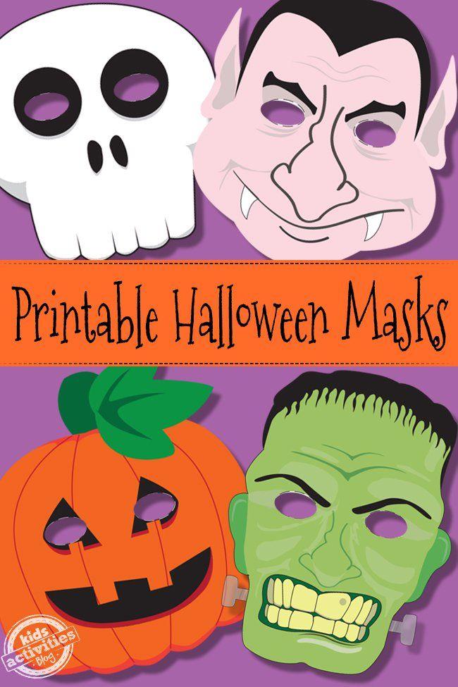 Máscaras imprimibles de #Halloween de calavera, vampiro, calabaza y monstruo // Halloween Masks