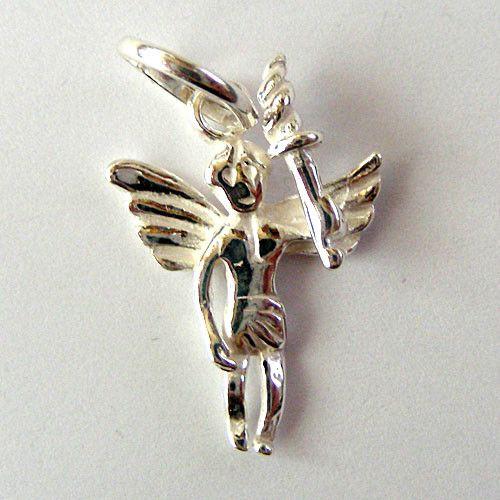 COLGANTE ANGEL MACIZO 3 CM PLATA LEY